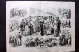 ILN 1880 LG Antique Print. Sketches at Ascot, Horse Racing
